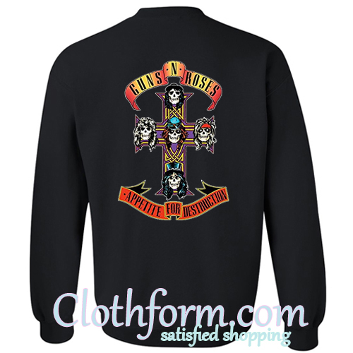 guns and roses sweatshirt back