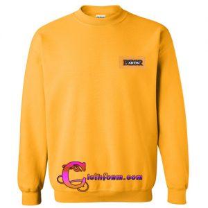 yellow funnel neck drop shoulder lantern sleeve patch sweatshirt