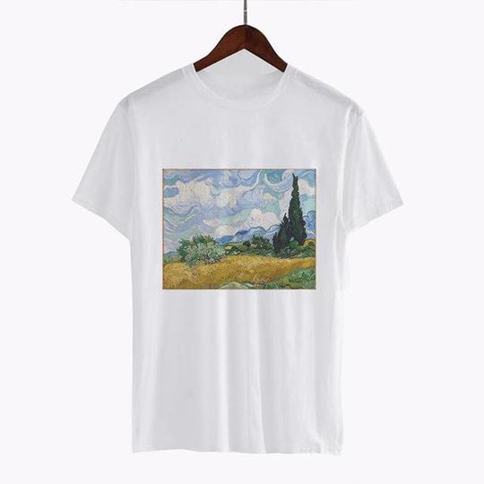 Vincent van Gogh Wheat Field with Cypresses T Shirt ST02