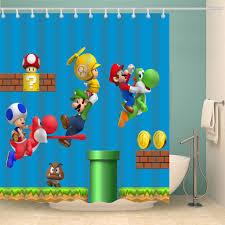 2019 Cartoon Super Mario Bros Shower Curtain At