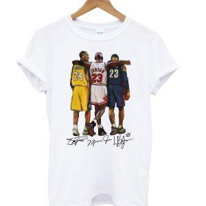 Lebron James Kobe Bryant Michael Jordan Signatures T shirt