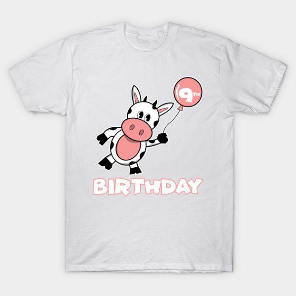 9th birthday children cow boy girl T-Shirt AI