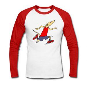 Racing Greyhound Dog Wearing Running Shorts and Tank Baseball Shirt SN